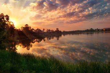 Sunrise with beautiful clouds over  Elk Lake. Masuria. Poland