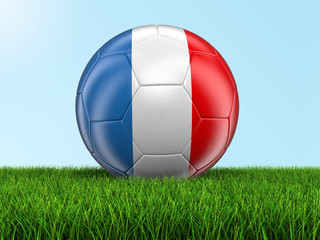 Soccer football with French flag on grass. Image with clipping path