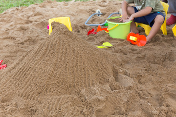 kid's toys for playing sand bucket and shovel in playground