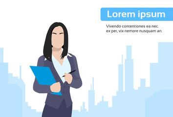Businesswoman Document City Skyscraper Flat