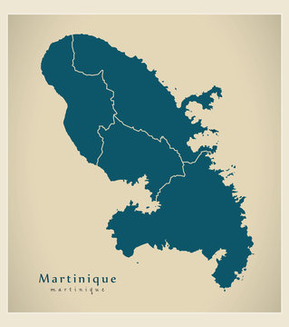 Modern Map - Martinique with arrondissements MQ