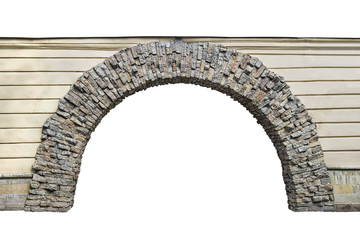stone arch in the wall isolated on white background