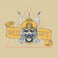 Hand drawn Monkey head with glasses on a yellow banner, on which is written 'Meditate'. Grunge print. Vintage style.