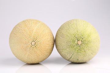 Fresh organic Japanese melon isolated on white background