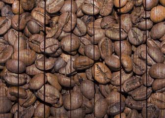 Kaffeebohnen mit Holz-Struktur Composing