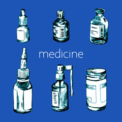 Hand drawn different medical bottles and spray bottles