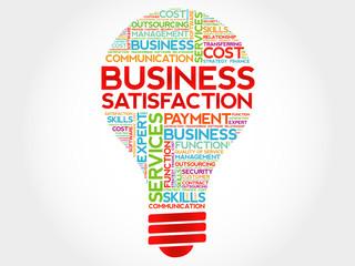 Business Satisfaction bulb word cloud, business concept