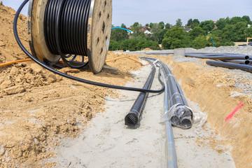 Kabelgraben im Neubaugebiet