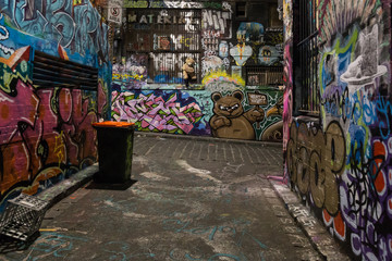 Melbourne, Australia - April 21, 2015: Graffiti wall in the alleyways of Melbourne.
