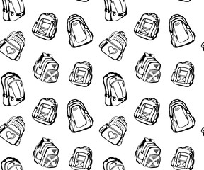Seamless pattern with different cute school bags