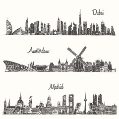 Set skylines Dubai Madrid Amsterdam drawn sketch