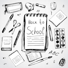 School background with different objects and copy space with wor