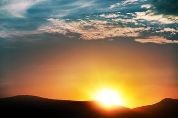 sunrise in cloud, myriads of sun rays