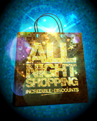 All night shopping sale design with gold crystal shopping bag