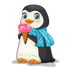 Cute cartoon penguin with ice-cream