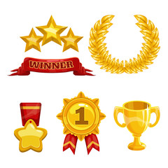 Award and trophy icons set