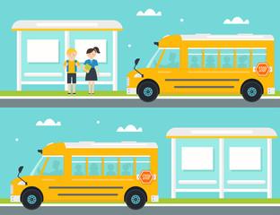 Schoolboy and Schoolgirl Waiting for School Bus at Bus Stop. School Bus Leaving Bus Stop