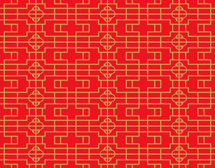 Golden seamless vintage Chinese window tracery square round diamond pattern background.
