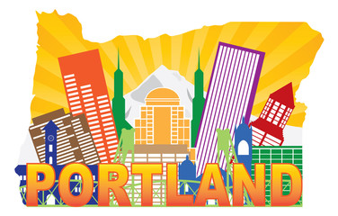 Portland Oregon Skyline in State Map Outline Vector Illustration