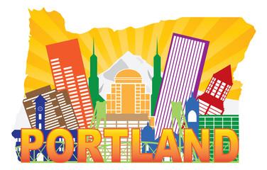 Portland Oregon Skyline in State Map Outline Vector Illustration