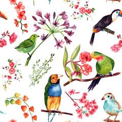 Fotorolgordijn Papegaai A seamless watercolor pattern of drawings of exotic birds and flowers