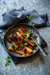 roasted vegetables in pan