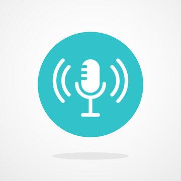 Microphone Icon. Webcast, Live Stream, Webinar Illustration