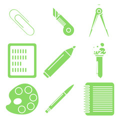 Black school goods, green linear icons. Part 2.