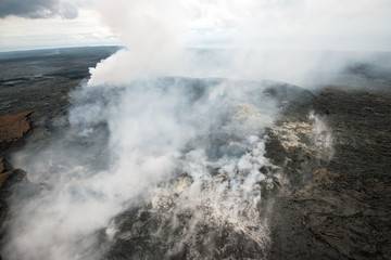 Vulkankrater Big Island (Luftaufnahme, Hawaii, USA)