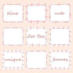 Set of nine square doodles frames.