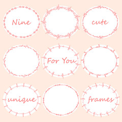 Set of nine round doodles frames.