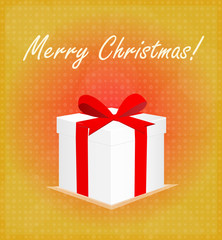 Merry Christmas Greeting Card Gift Box Red & Golden Background EPS 10