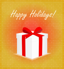 Happy Holidays Greeting Card Gift Box Red & Golden Background EPS 10
