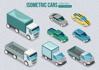 Set of isometric cars.