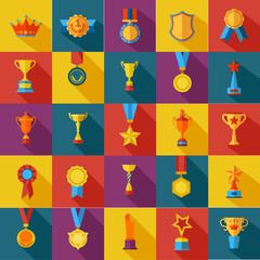 Set of flat awards icons.
