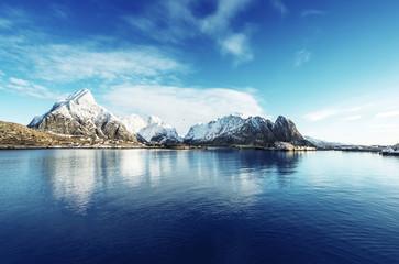 Tuinposter Scandinavië snow in Reine Village, Lofoten Islands, Norway