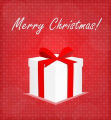 Merry Christmas Greeting Card Gift Box Red Background EPS 10