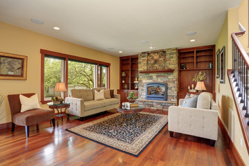 Traditional living room with hardwood floor.