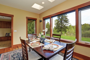 Simple dinning room with large windows.