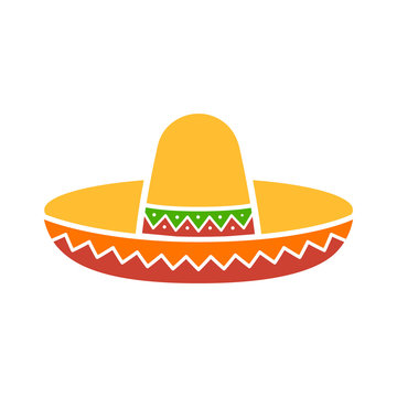Sombrero / Mexican hat colorful flat icon for apps and websites