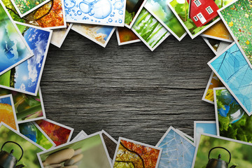 Stack of colorful photos