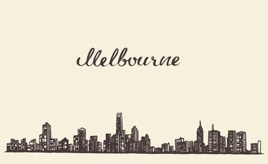 Melbourne skyline vector engraved drawn sketch