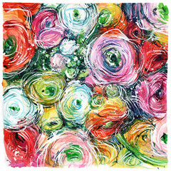 close-up colorful bouquet of buttercups, roses/ watercolor painting