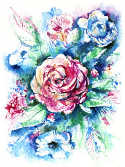 watercolor sketch of a bouquet of flowers with a pink rose in the center