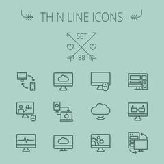 Technology thin line icon set