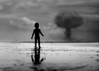 Child looking on nuclear war episode