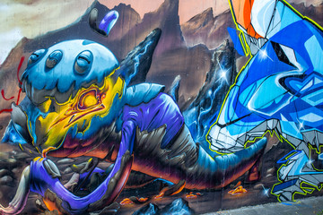 Graffiti; Alien-Raupe