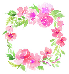 Watercolor wreath. Handmade. Illustration.