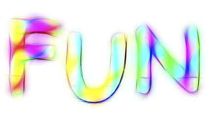 das Wort Fun in Neonfarben