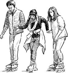 teens rollerblading